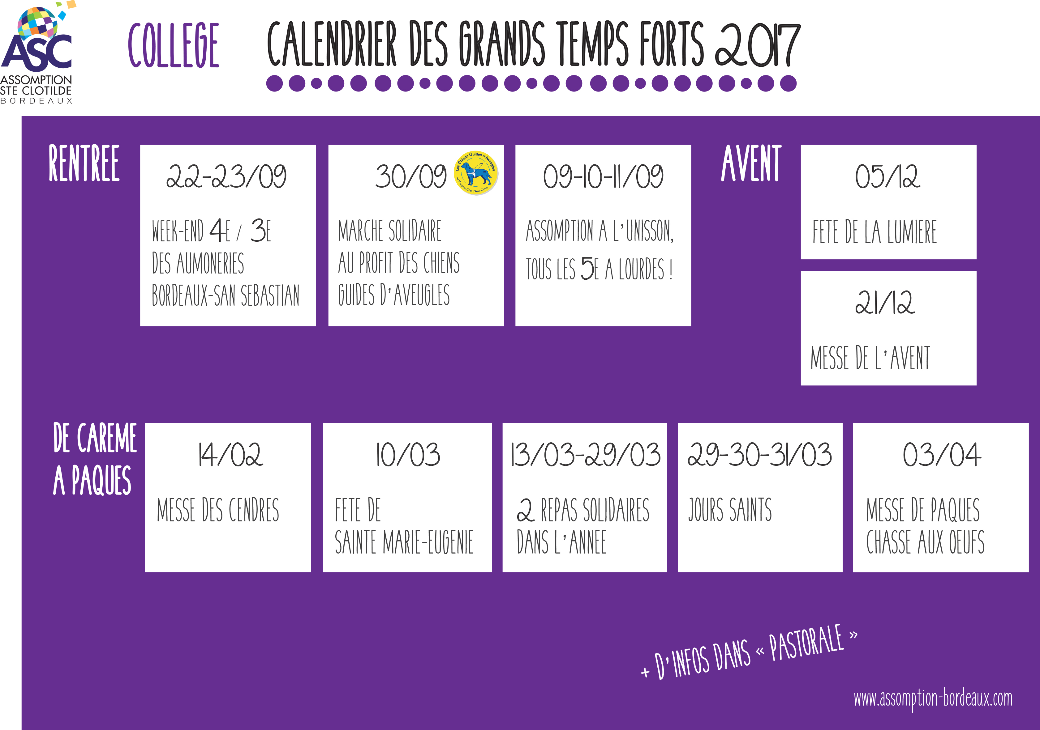 11 CALENDRIER DES GRANDS TEMPS FORTS 2017 COLLEGE