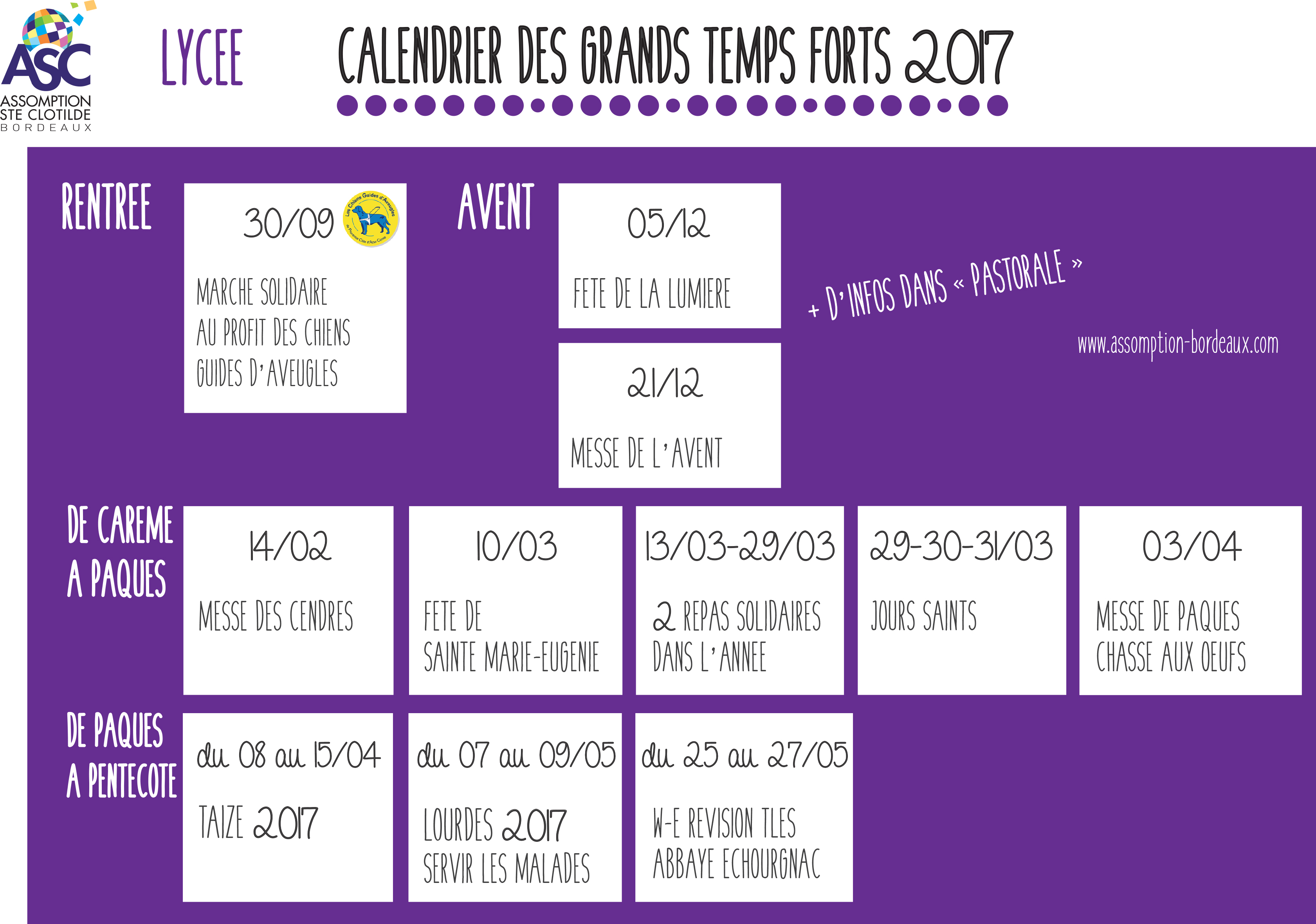 12 CALENDRIER DES GRANDS TEMPS FORTS 2017 LYCEE