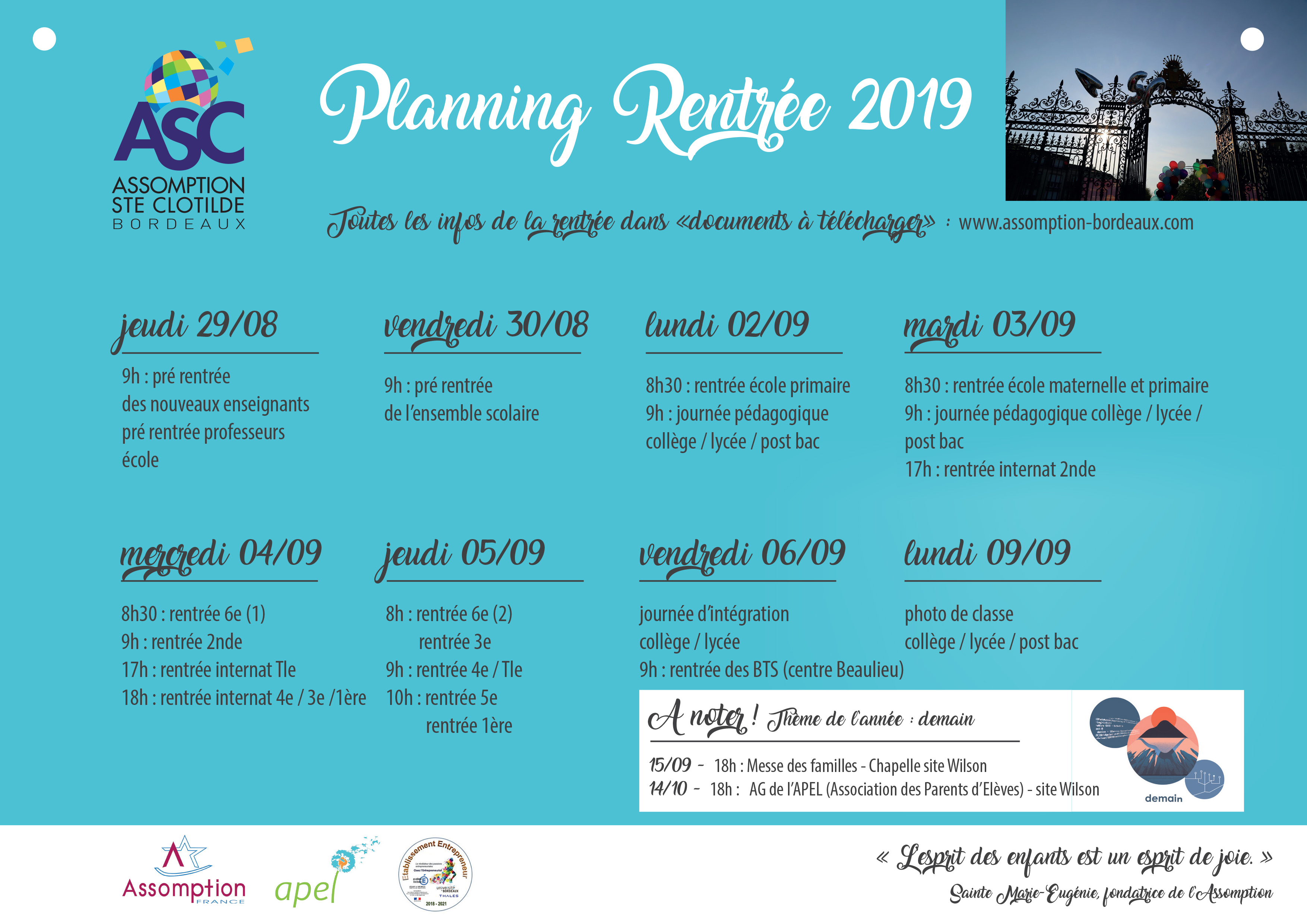 CALENDRIER RENTREE 2019